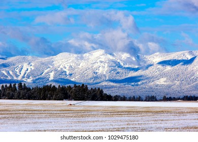 Winter scenic fresh snow on mountains and farm field with irrigation wheel move in Flathead Valley, Montana