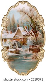 Winter scenic of old mill, with ornate, gilded framing - a circa 1895 vintage illustration