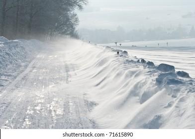 StraÃ?e, Winter, Schneeverwehung