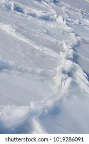 Winter sea. Icy scenery of Pacific coastline