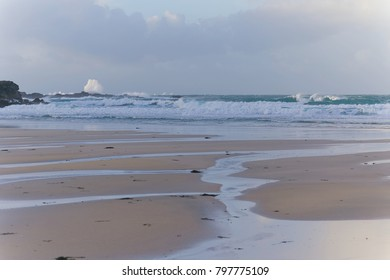 Winter sea scene on Cornwall beach