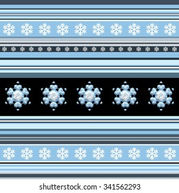 Winter seamless pattern - striped with snowflake motif in blue spectrum