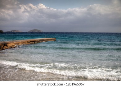 Winter seascape on the island of Syros in the village of Azolimnos.