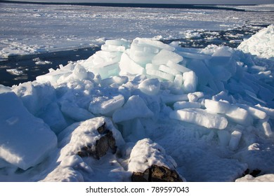 Winter seascape. The sea is covered with ice.