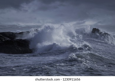 Winter seascape. Stormy wave splash over cliff. Northern portuguese rocky coast. Toned blue.
