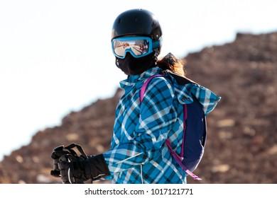 Winter season People and scenery skiing