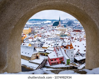 Winter season  snow in Cesky Krumlov, a small city in the South Bohemian Region of the Czech Republic where Cesky Krumlov Castle is located.