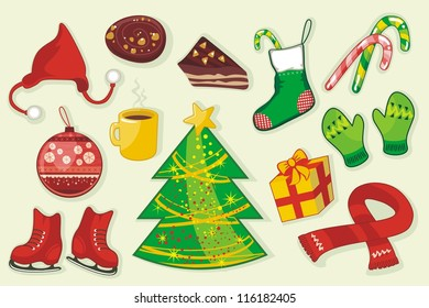 Winter set with various seasonal specific objects