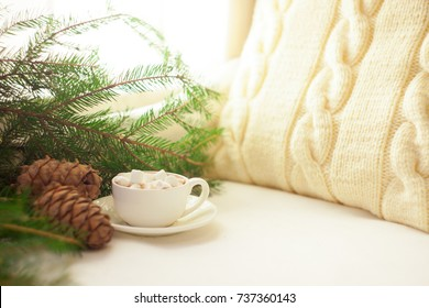 Winter sill life with hot cocoa, marshmallows, pine and cones, front view