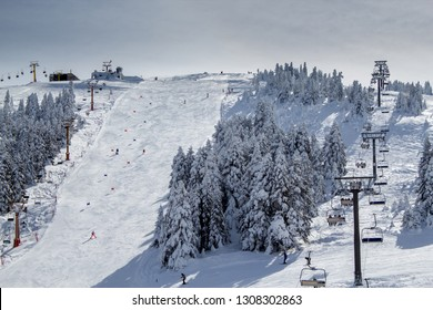 Winter ski resort,people skiing. Uludag Mountain, Bursa, Turkey