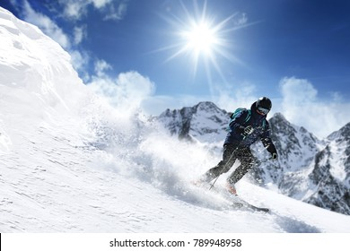 Winter skie and mountains landscape