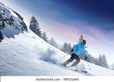 Winter skier and alps mountains landscape