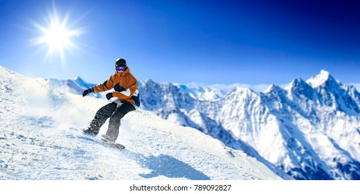 Winter skier and landscape of mountains