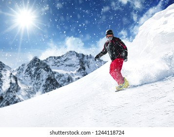 Winter skier and sunny day in Alps
