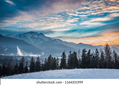 Winter skiing competitions in Zakopane at sunset, Poland
