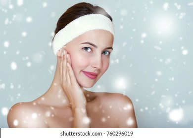 Winter skin care concept. Clean and fresh, Spa girl portrait