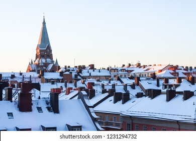 Winter skyline city
