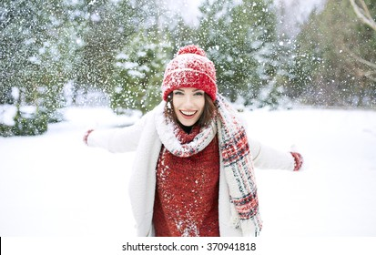 Winter smiling woman