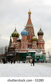 Winter snapshot of The Blessed Vasily church at Red Square - Moscow, Russia
