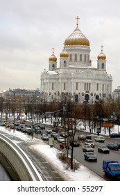 Winter snapshot of The Cathedral of Christ the Saviour form Moscow River - Moscow, Russia