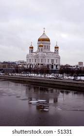Winter snapshot of The Cathedral of Christ the Savoir form Moscow River - Moscow, Russia