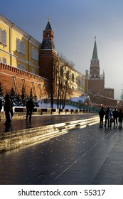 Winter snapshot the Kremlin's Wall and towers from Alexandrovsky Sad close to Red Square - Moscow, Russia