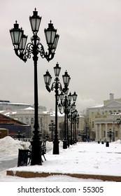 Winter snapshot of Manezhnaya (Manege) Square - Moscow, Russia