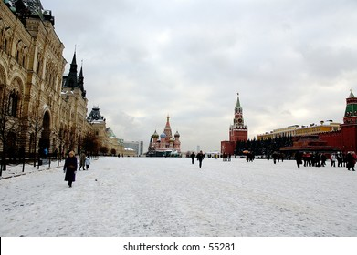 Winter snapshot of Moscow Kremlin, Mausoleum and The Blessed Vasily church at Red Square - Moscow, Russia