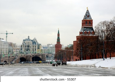 Winter snapshot of Moscow Kremlin and Mausoleum at Red Square - Moscow, Russia