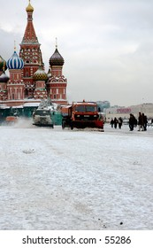 Winter snapshot of Red Square snow cleaning - Moscow, Russia