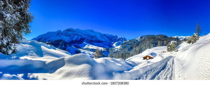 Winter snow covered mountain panoramic landscape - Shutterstock ID 1807208380