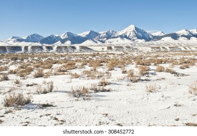 Winter snow covers Diamond Peak, the Lemhi Mountains and Valley.