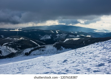 Winter with snow in the Giant Mountains, Czech Republic.