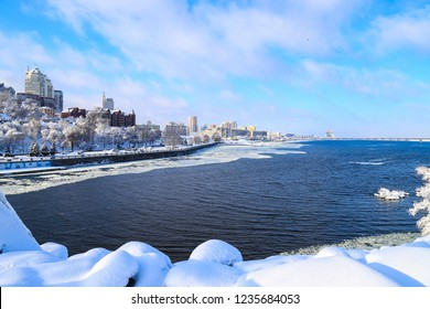 Winter snow landscape of the Dnipro city. View of the buildings,  skyscrapers,  Dnieper river and towers,   Ukraine,  Dnepropetrovsk,  Dnepr, Dnipropetrovsk
