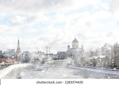 Winter snow landscape in the Russian capital Moscow