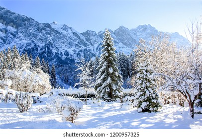 Winter snow mountain forest landscape. Snow covered trees on winter snow mountains. Winter mountain snow forest scene. Winter snow mountain forest trees view