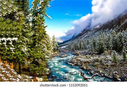Winter snow mountain forest river valley landscape. Mountain river valley on winter snow panorama. Winter snow mountain river view