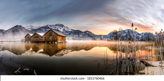 Winter snow mountain lake house panorama in morning time. Sunrise mountain lake panorama. Lake in mountains panoramic view. Mountain lake sunrise landscape