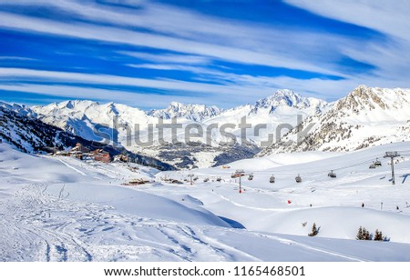 Winter snow mountain valley ski resort  landscape
