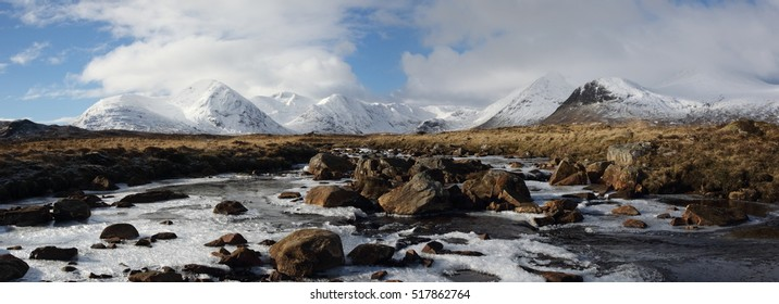 Winter snow on the Black Mount on Rannoch Moor in the Scottish Highlands.