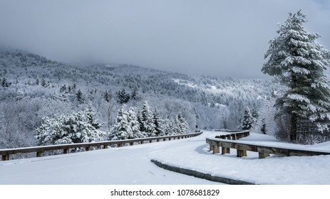 Winter snow on the Blue Ridge Parkway - Beacon Heights pull off