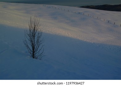 Winter with snow on the mountains in the Asiago plateau, Vicenza, Italy