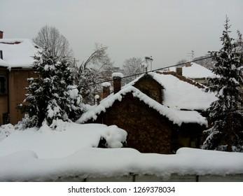 Winter snow on the rooftops of Belgrade. Winter 2018.