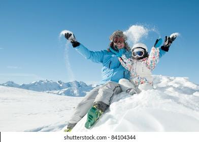 Winter, snow, ski, sun and fun