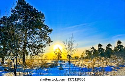 Winter snow sunset nature landscape. Sunset winter snow view. Winter sunset snow scene. Winter snow sunset nature view