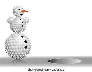 winter snowman made of golf balls on white