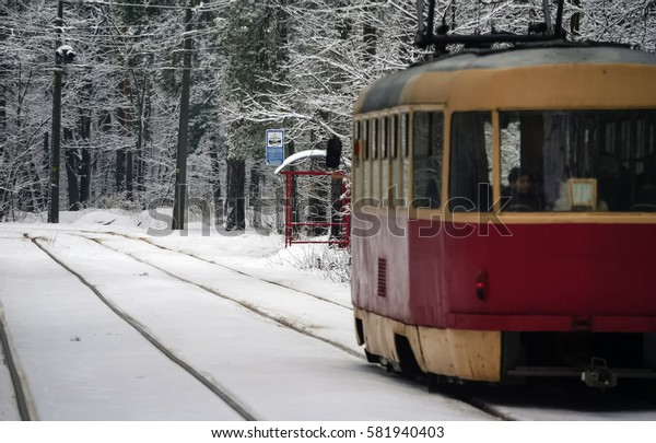 In the winter snowy forest one red tram comes to a halt.