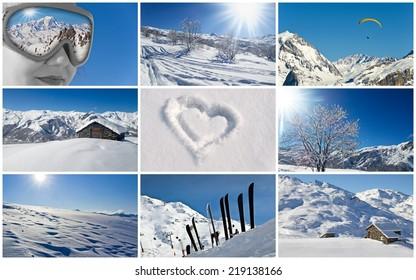Winter snowy landscape collage