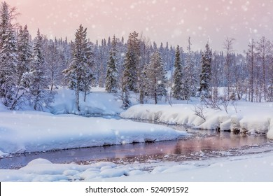 Winter Snowy Landscape with forest and river, big snow and beautiful sundown colors