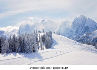 Winter snowy landscape of a ski areal in Austria, Europe